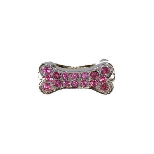 """Hårspænde med Rosa """"diamanter"""". Længde 3 cm"""