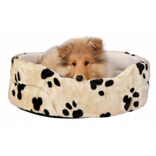 Charly Hundeseng i beige med sort pote mønster