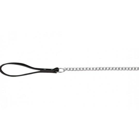 Line med kæde og håndtag af sort læder.
