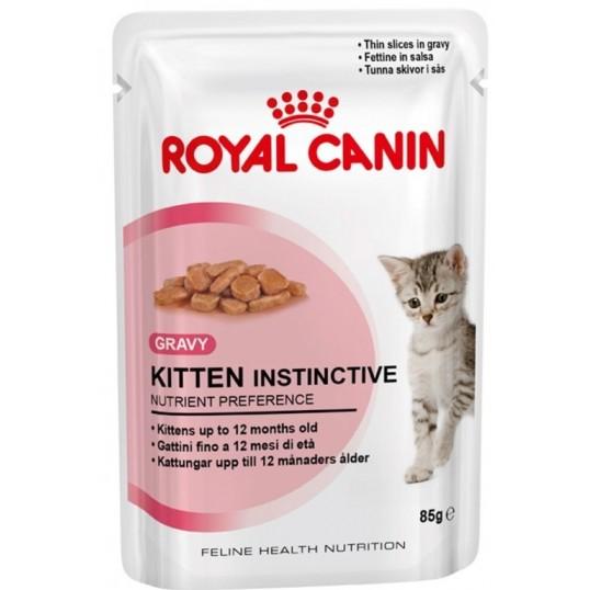 Royal Canin Kitten Instinctive Sovs eller Paté Vådfoder. Tynde bidder i sovs. Til killinger fra 4 til 12 måneder, samt drægtige hunkatte. 12 ps. á 85 g.