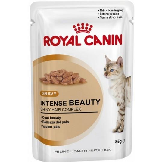Royal Canin Intense Beauty Gravy. Tynde bidder i sovs. Vådfoder. Til voksne katte over 1 år. 12 ps. á 85 g.