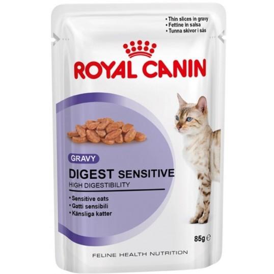 Royal Canin Digest Sensitive Gravy. Bidder i sovs. Vådfoder. Til voksne katte over 1 år med følsom fordøjelse. 12 ps. á 85 g.