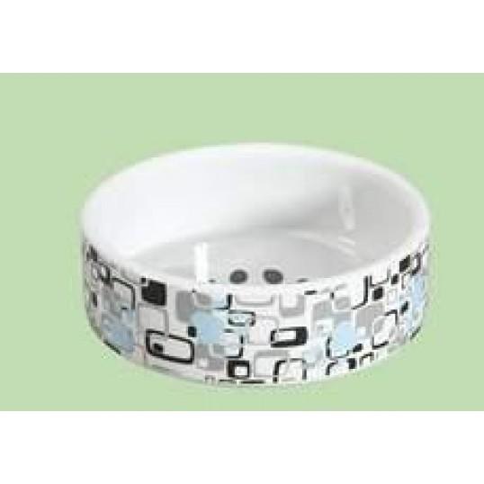 Keramikskål hvid m/firkanter