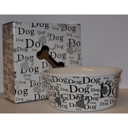 """Dog"" keramik skål i hvid keramik med skrift og potetryk"
