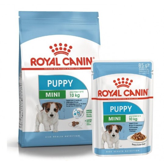 Royal Canin Mini Puppy. Fra 2 til 10 måneder. Voksenvægt 1-10 kg.