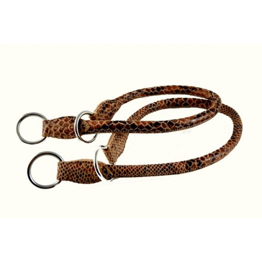 """Læderhalsbånd 2-Cool """"Fat Snake"""" rundsyet læder med kvæler-effekt"""