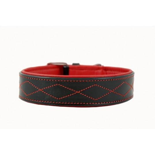 2-cool Læderhalsbånd i kraftigt sort læder med blødt for, ZigZag Red Devil.