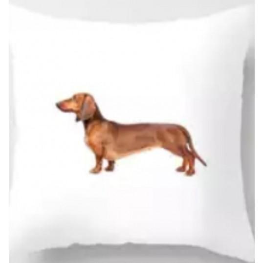 130 Sofapude med hundemotiv. 45x45cm.
