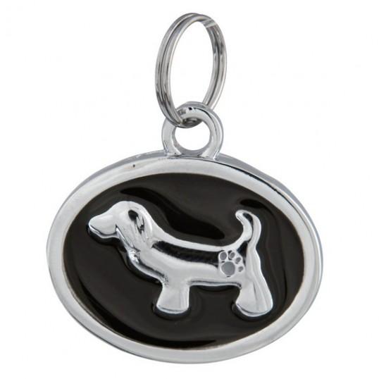 Fancy ID-Tag i metal - Medaillon med hund. Måler 30x22mm