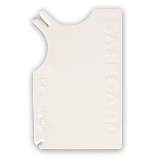 Safecard, skovflåtfjerner 8 x 5 cm. Kreditkort format. Hvid.