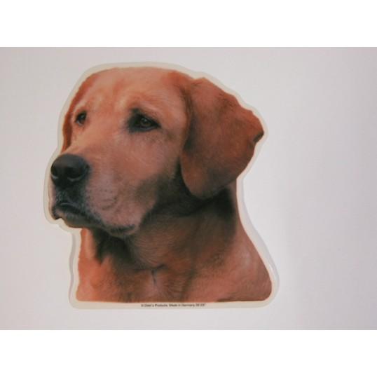 Labrador Retriever, gul, hv. Vælg: klistermærke, nøglering, broche, slipsenål, mm.