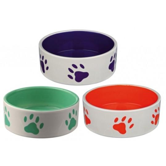 Hvid keramik skål med farvet inderside og poter