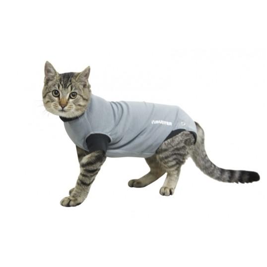 "Buster Body Suit til katte / ""Recover overall"". Grå/sort"