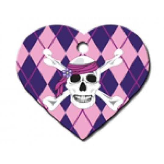 Hundetegn. Hjerte. Stort m. Pink Argyle Skull. Dybdegraveres.