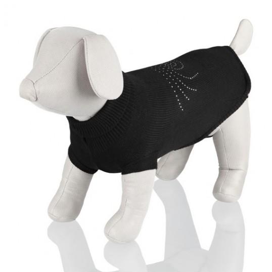 Kamloops Pullover / Sort trøje med sølv spiral på ryggen