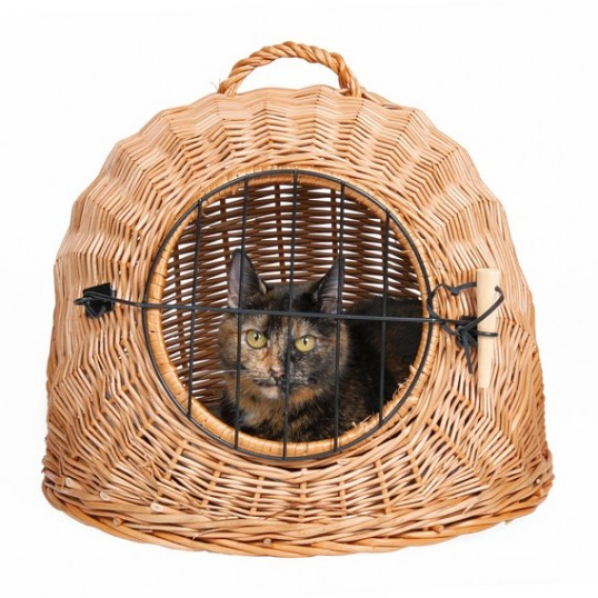 Transportbur til katte i pileflet med håndtag og metalgitter. 50 cm