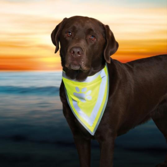 Sikkerhedstørklæde/Bandana i gul med refleks