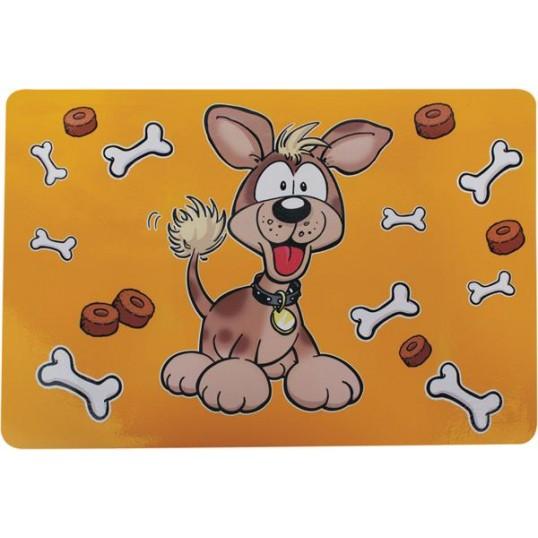 """Underlag til foderskåle. """"Glad hund"""". STOR. 56x38 cm"""