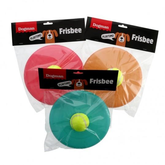 Frisbee med tennisbold i midten.