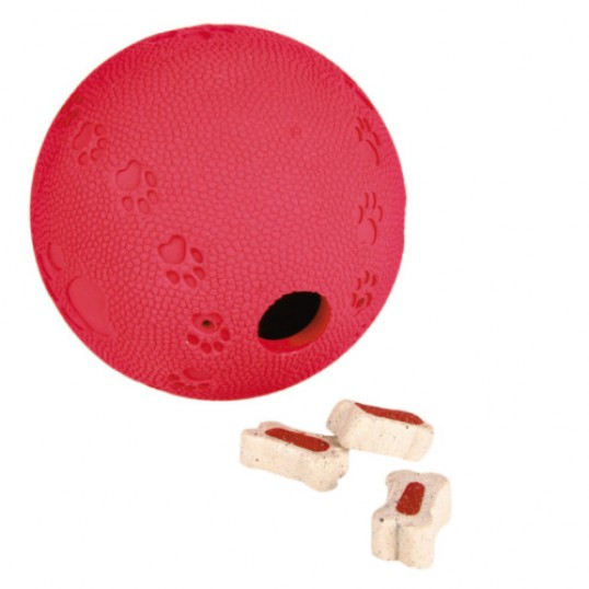 Aktiviteslegetøj Godbidsbold i naturgummi med labyrint, Snacky Naturgummi. ass farver