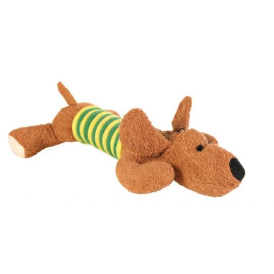 """Hundelegetøj """"Gravhund"""" med reb. Længde ca 28 cm."""