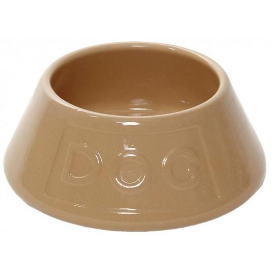 "Brun keramik MASON CASH Spanielskål med teksten ""DOG"""