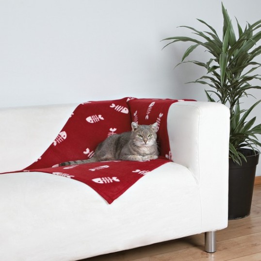 Beany fleece tæppe med fiskemotiver