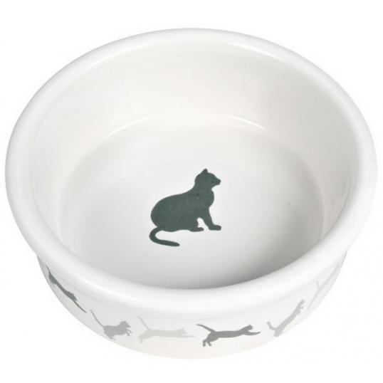 Hvid keramik skål med kattesilhuetter. 0,25 L / ø 11 cm. Ass. farver