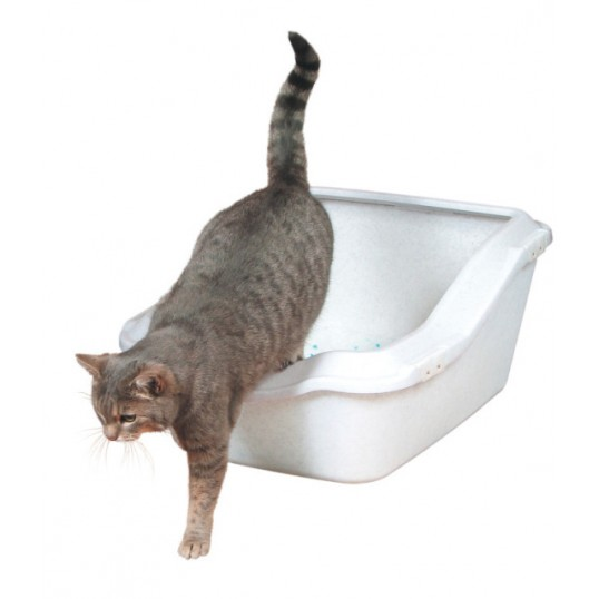 Cleany Cat' Kattetoilet. Høj rem. Str. 45x21(29)x54cm. Granithvid