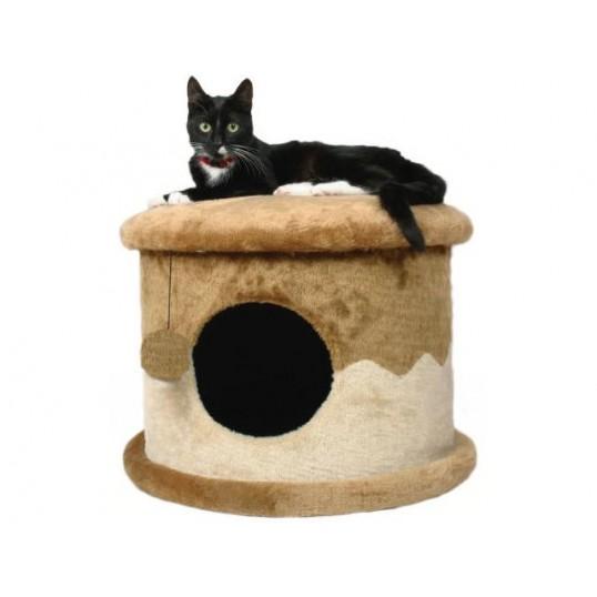 Cat House. Beige og brun. H. 32 cm.