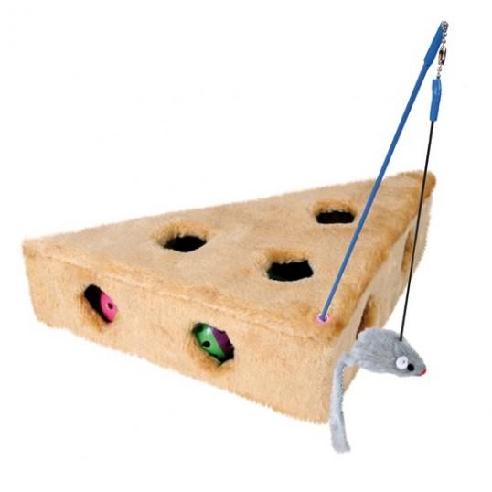 """Kattelegetøj, """"Cat Cheese"""" med mus på drillepind og 3 bolde, mål:36 x 19 x 31 cm. ass. farver."""
