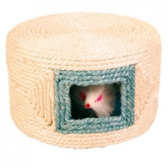 Legetønde i sisal med 3 mus, mål: Ø 16 x 10 cm. Kanten har ass. farver.