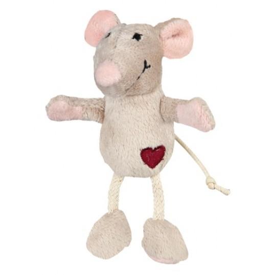 Kattelegetøj. Plys mus med hjerte og catnip. 11 cm.