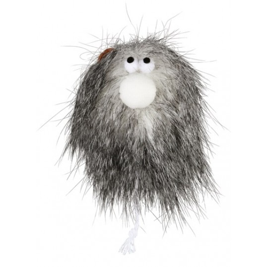 Katteleg shaggy bold med ansigt. Langhåret plys. Med catnip. Ø 6 cm. Ass. varianter.