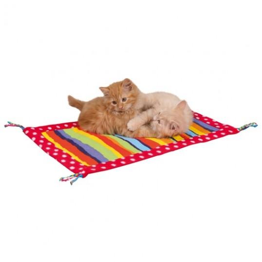 Farverigt legetæppe til katte. Fleece/Canvas. Med kvaster og raslefolie.