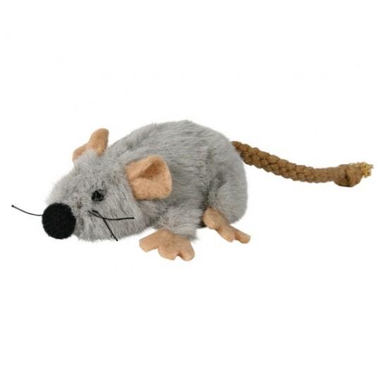 Grå Plys-mus med reb-hale. Med catnip. Måler ca. 7 cm.