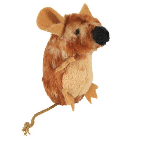 Brun plys-mus med stor næse. Med lyd og catnip. Måler ca. 8 cm