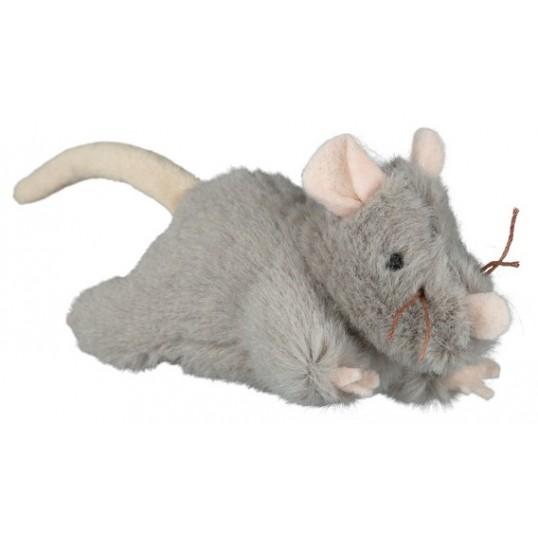 Kattelegetøj Plysmus med catnip og lyd. 15 cm.