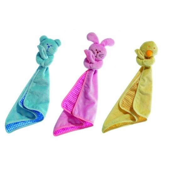 Plys hvalpe-lege-tæppe - tæppe og legetøj i ét. Med squeeker. Længde ca. 40 cm.
