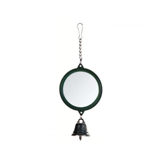Rundt spejl med plastramme og klokke. Ca. ø5,5 cm. Lille