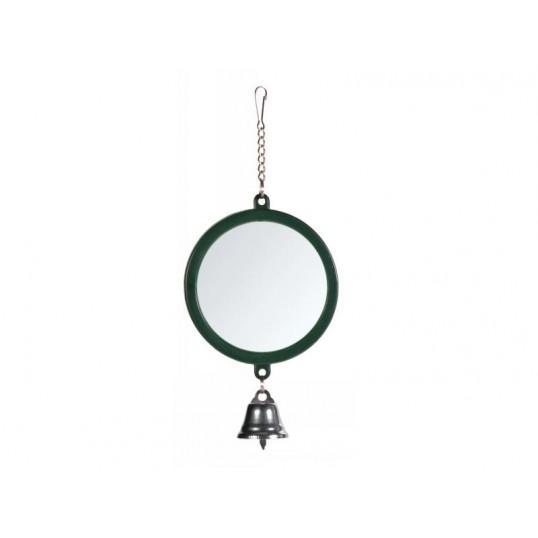 Rundt spejl med plastramme. Ca. ø7,5 cm. Stor