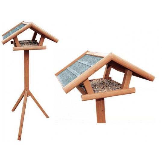 Fuglefoderhus i behandlet fyrretræ, med stander