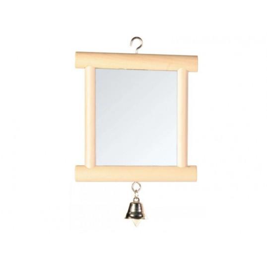 Spejl med træramme og klokke. Ca. 9x10 cm.