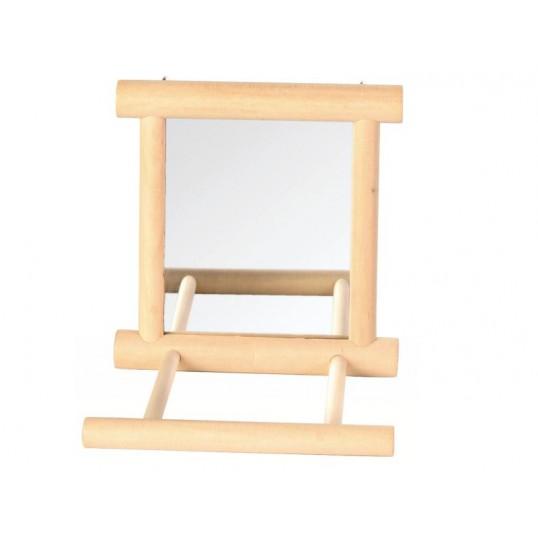 Spejl med træramme og siddepind. Ca. 9x10 cm.