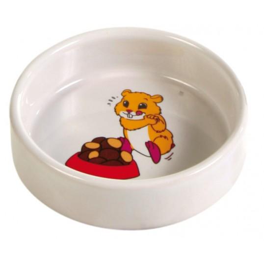 Keramik skål m. motiv. Hamster. 90ml / ø 8cm. Sendes med fragtmand.