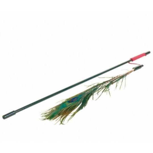 Drillepind med smuk påfuglefjer. 47 cm.