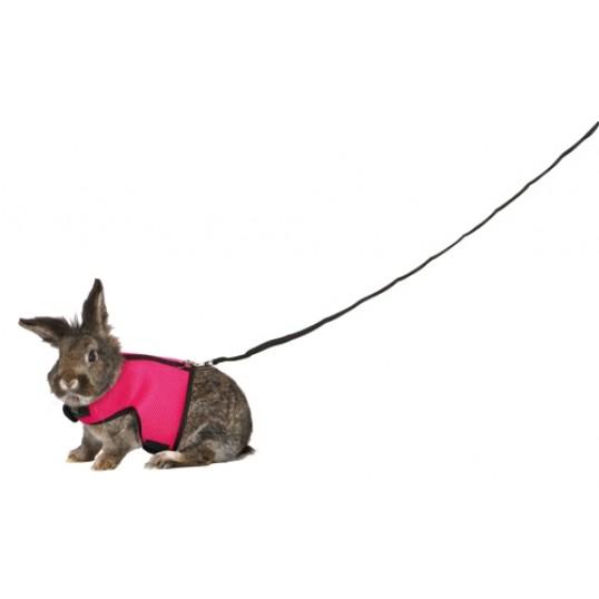 Soft sele med line til store kaniner. Maveomfang 25-40 cm. Linen 120 cm. Ass. farve.