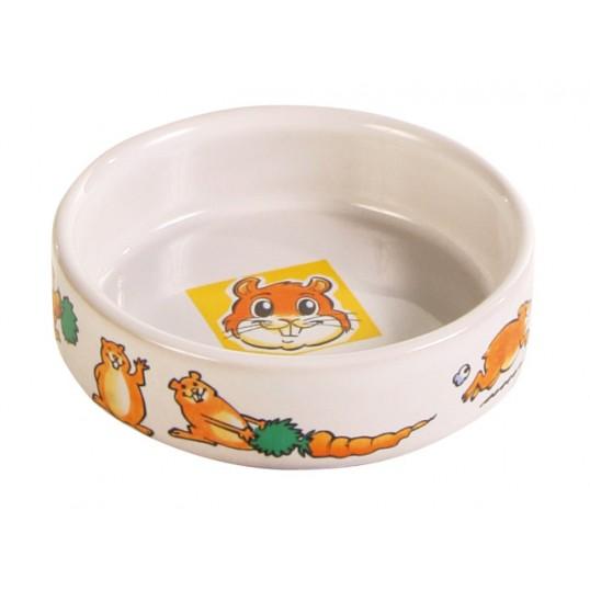 Keramik skål m. motiv på bunden og kanten. Hamster 90ml / ø 8cm. Sendes med fragtmand.
