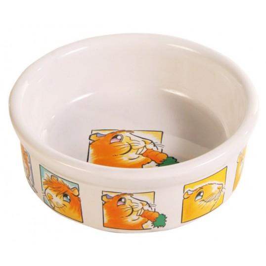 Keramik skål m. motiv på bunden og kanten marsvin 240ml / ø 11cm.