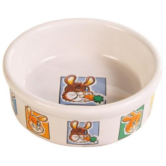 Keramik skål m. motiv på bunden og kanten kanin 240ml / ø 11cm. Sendes med fragtmand.